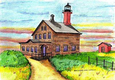 Drawing - Block Island North Lighthouse by Paul Meinerth