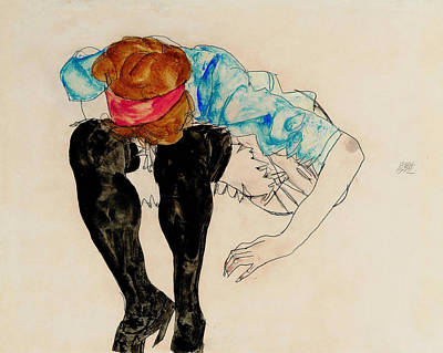 Top With Oil Painting - Blond Girl, Leaning Forward With Black Stockings 1912 by Egon Schiele