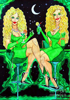 Blond Girls At Disco Art Print by Don Pedro De Gracia