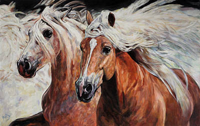 Painting - Blond Manes - Two Haflingers by Jana Fox