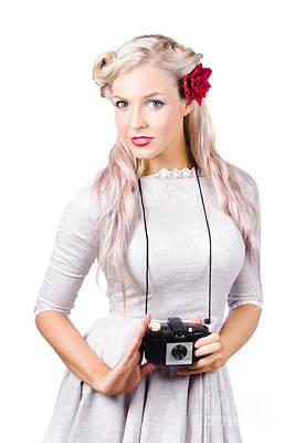 Blond Woman With Camera Art Print