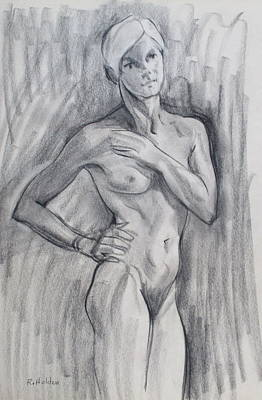 Drawing - Blonde Amazon by Robert Holden