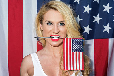 Photograph - Blonde And American Flag by Amyn Nasser