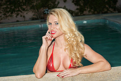 Photograph - Blonde Babe Poolside by Amyn Nasser