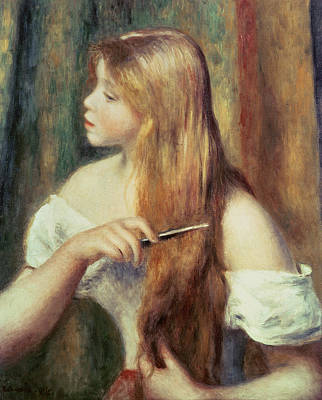 Blonde Girl Combing Her Hair Art Print by Pierre Auguste Renoir