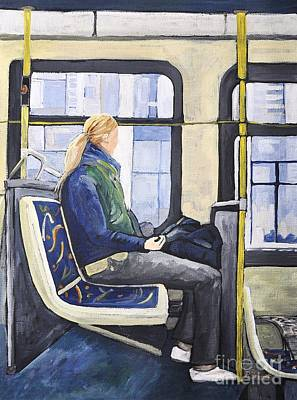 Montreal Scenes Painting - Blonde Girl On 107 Bus Montreal by Reb Frost