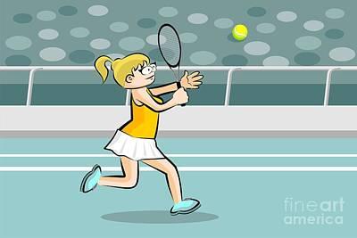 Tennis Digital Art - Blonde Girl Running While Playing Tennis by Daniel Ghioldi
