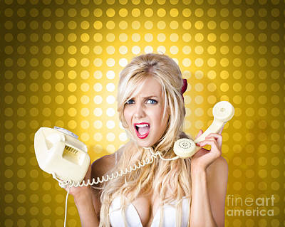 Blonde Girl Tangled In A Funny Phone Communication Art Print