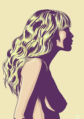 Naked Woman Drawing - Blonde by Giuseppe Cristiano