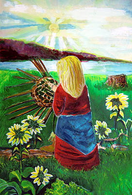 Weaving Painting - Blonde Indian Weaves Her Basket By A Lake by Mindy Newman