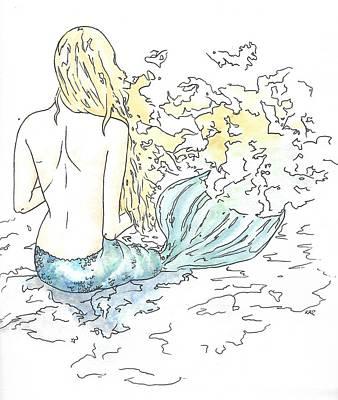 Gel Pen Painting - Blonde Mermaid by Katrina Ryan