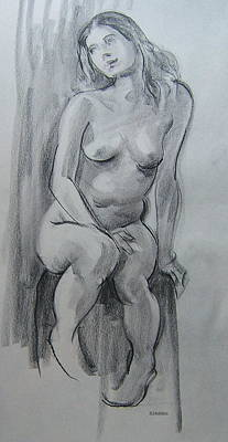 Drawing - Blonde Seated On A Stool by Robert Holden