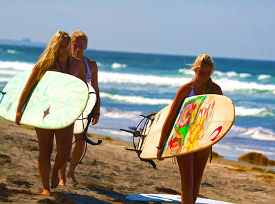 Digital Art - Blonde Surfer Girls by Waterdancer