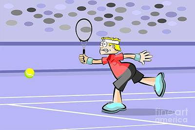Blonde Tennis Player Hitting The Ball With His Racket Art Print