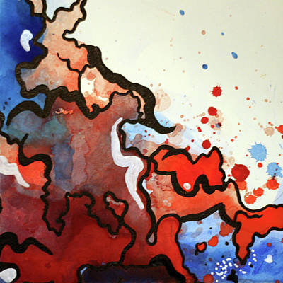 Painting - Blood In The Water 2 Of 4 by Ginnefine