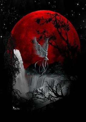 Digital Art - Blood Moon by Ali Oppy