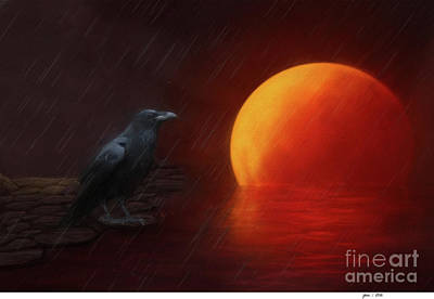 Blood Moon Crow Art Print