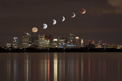 Photograph - Blood Moon Lunar Eclipse Over Boston Massachusetts by Brian MacLean