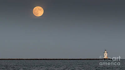 Photograph - Blood Moon Over Breakers Light by Ted Jennings