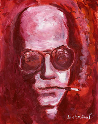 Hunter S. Thompson Painting - Blood Red Hunter by Jon Griffin