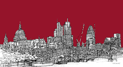London Skyline Royalty-Free and Rights-Managed Images - Blood red London skyline  by Adendorff Design
