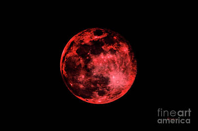 Photograph - Blood Red Moonscape 3644b by Ricardos Creations