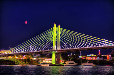 Photograph - Blood Red Moon Over Tilikum Crossing by Ken Aaron