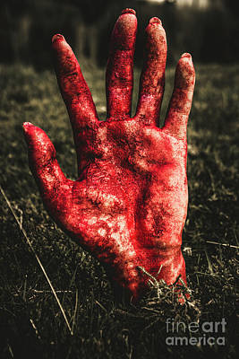 Blood Stained Hand Coming Out Of The Ground At Night Print by Jorgo Photography - Wall Art Gallery
