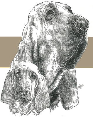 Bloodhound And Pup Art Print
