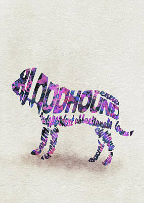 Bloodhound Dog Watercolor Painting / Typographic Art Art Print