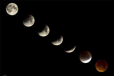Bloodmoon Lunar Eclipse With  Phases Composite Art Print