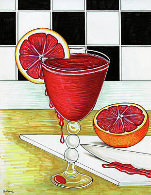 Drawing - Bloody Good Drink by Shawna Rowe