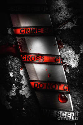 Death Wall Art - Photograph - Bloody Knife Wrapped In Red Crime Scene Ribbon by Jorgo Photography - Wall Art Gallery