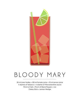 Bloody Mary Mixed Media - Bloody Mary Classic Cocktail - Minimalist Print by Studio Grafiikka
