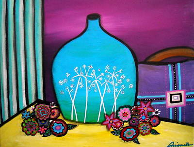 Print featuring the painting Bloom And Vase by Pristine Cartera Turkus