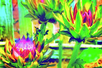Artichoke Digital Art - Blooming Artichoke 3 by Nancy Faircloth
