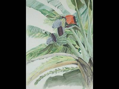 Art Print featuring the painting Blooming Banana by Hilda and Jose Garrancho