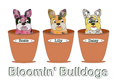 Breed Digital Art - Blooming Bulldogs by Beverley Brown