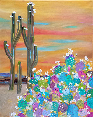 Painting - Blooming Cacti by Judith Rhue
