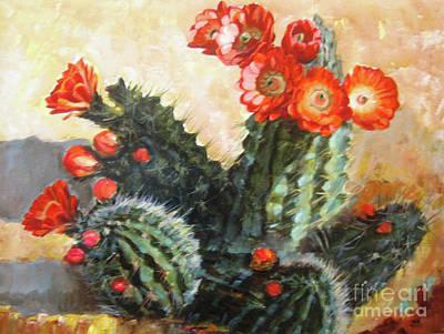 Painting - Blooming Cactus by Ekaterina Stoyanova