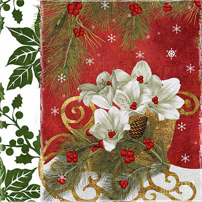 Amaryllis Painting - Blooming Christmas II by Mindy Sommers
