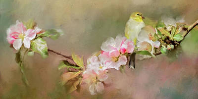 Photograph - Blooming Flowers And Finch by Lana Trussell