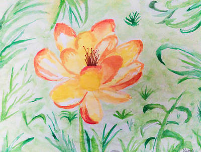 Reflections Drawing - Blooming Flower by Nura Abuosba