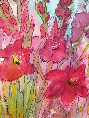 Blooming Glads Art Print by Donna Cary