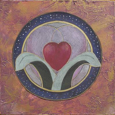 Blooming Heart Mandala Art Print by Jo Thompson