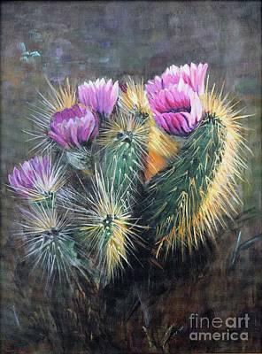 Painting - Blooming Hedgehog Cactus by Ekaterina Stoyanova