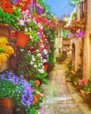 Painting - Blooming Houses Spello Italy by Lutz Baar