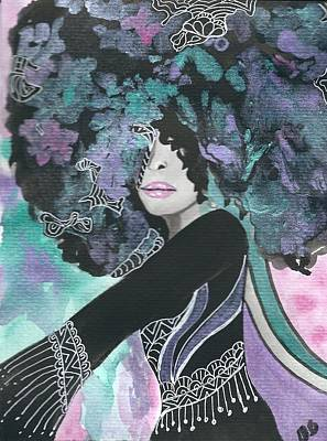 Afro Mixed Media - Blooming In Motion by Debra Brewer