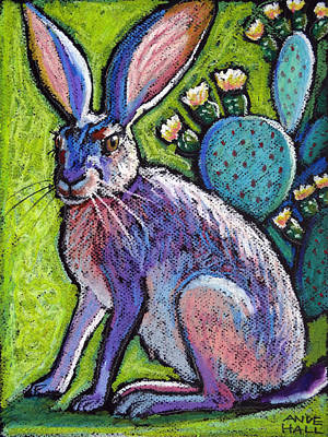 Prickly Pear Painting - Blooming Jackrabbit by Ande Hall