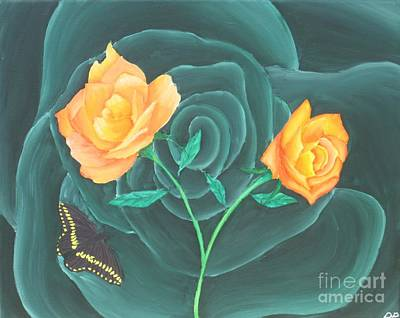 Orange And Black Butterfly Painting - Blooming Roses by Danielle Paredi